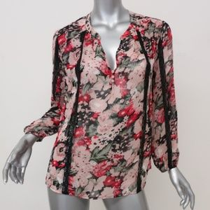 Joie Blouse Eber Lace-Trim Floral Print Silk